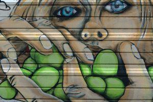 Graffitis an der Schallschutzwand der Bleiberger Straße in Aachen (Aufnahmedatum: Dezember 2020)